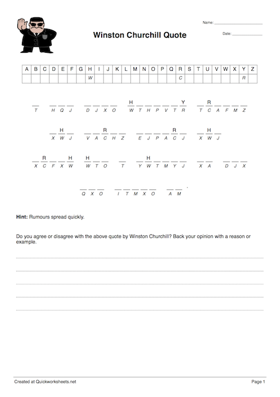 Cryptogram Worksheet Thumbnail