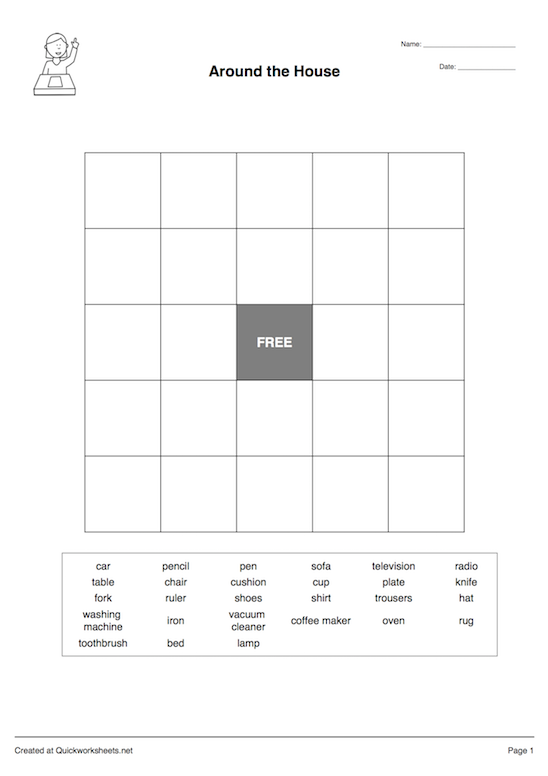 Bingo Grid Worksheet Thumbnail