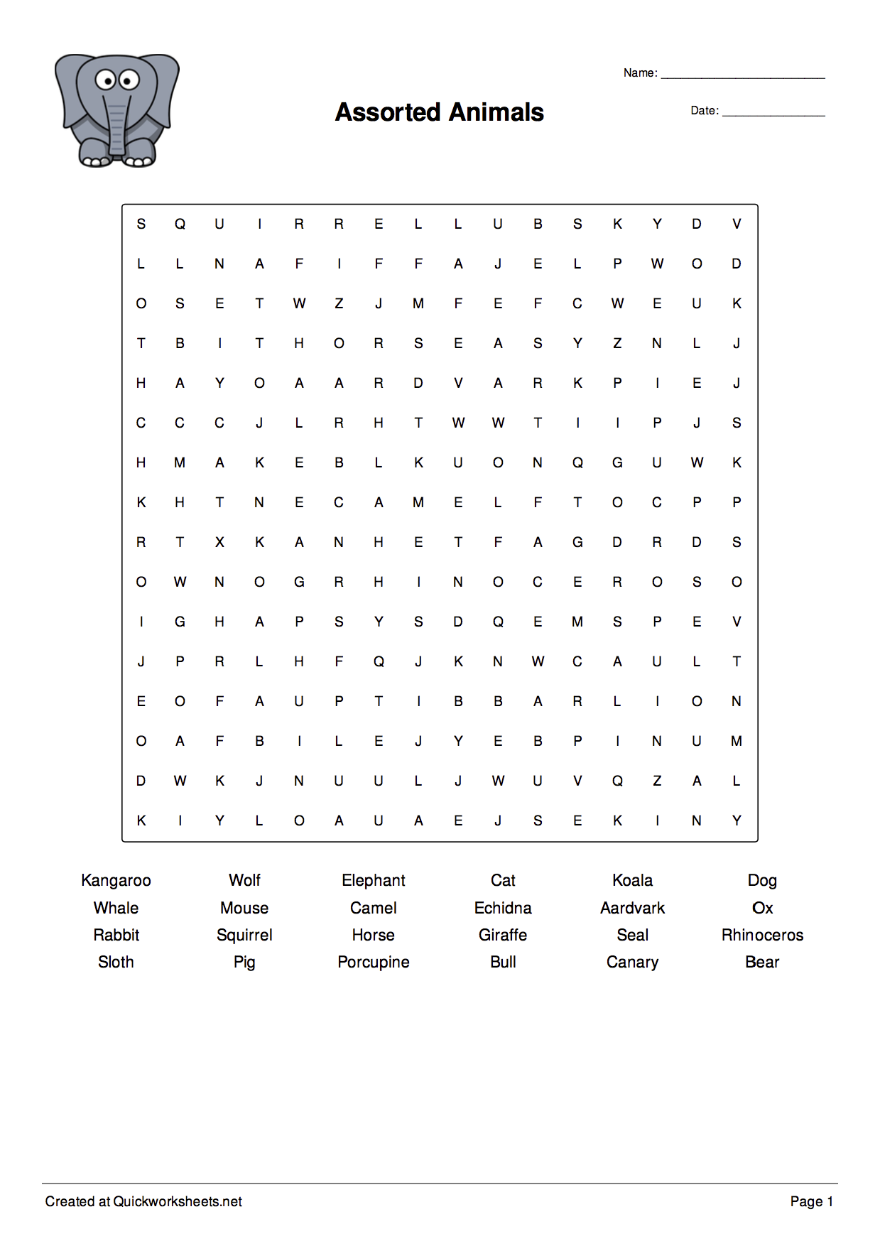 Wordsearch Worksheet Maker Worksheet Thumbnail